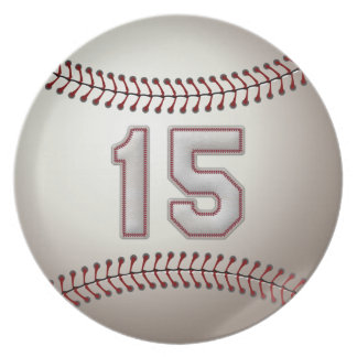 プレーヤー第15 -クールな野球のステッチ プレート