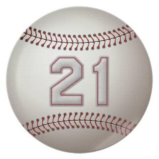 プレーヤー第21 -クールな野球のステッチ ディナープレート