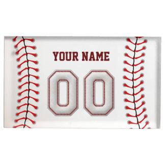 プレーヤー第43 -クールな野球のステッチ テーブルカードホルダー