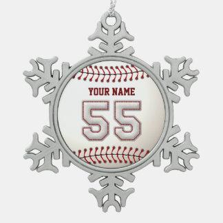 プレーヤー第55 -クールな野球のステッチ ピューター製スノーフレークオーナメント