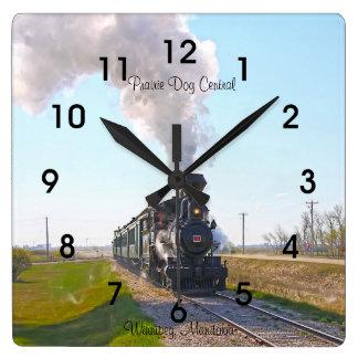 プレーリードッグの中央蒸気機関#3の正方形の時計 スクエア壁時計