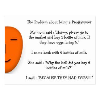 プログラマーおもしろいなお母さんの冗談があることについての問題 ポストカード