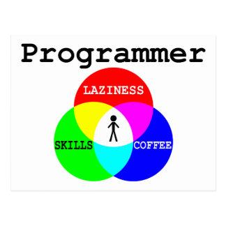 プログラマー交差の怠惰、技術、コーヒー 葉書き