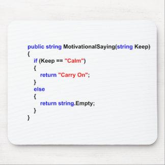 プログラマーKeep Calm and Carry Onのマウスのマット マウスパッド