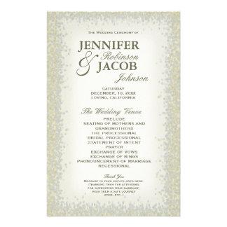 プログラム-ロマンチックなヴィンテージの金ゴールドおよび銀のグリッター チラシ