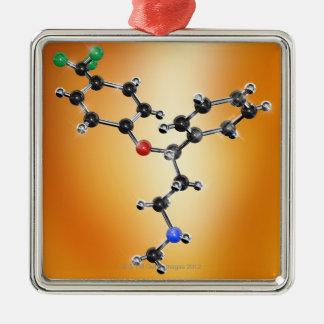 プロザック。 抗鬱剤の分子モデル メタルオーナメント