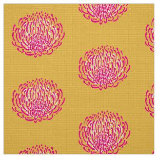 プロテアの花のプリント: 、ピンク黄色い、白い ファブリック