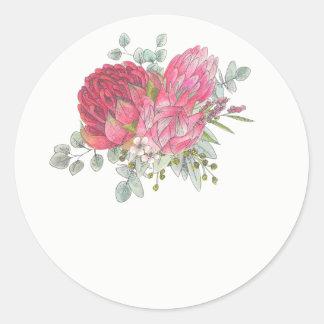 プロテアの花の結婚式の引き出物のステッカー ラウンドシール