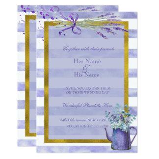 プロバンスのラベンダーの紫色の花の結婚式 12.7 X 17.8 インビテーションカード