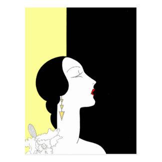 プロフィールのアールデコの女性 ポストカード