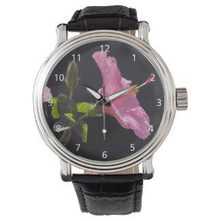 プロフィールのハイビスカスの花 腕時計