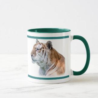 プロフィールの緑色の目のトラ マグカップ