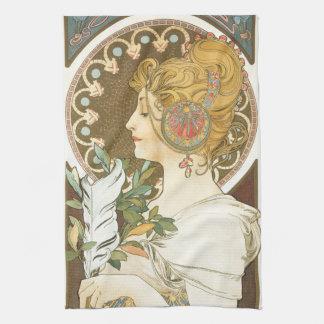 プロフィールの羽1899年のアルフォンス・ミュシャの女性 キッチンタオル