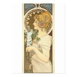 プロフィールの羽1899年のアルフォンス・ミュシャの女性 ポストカード