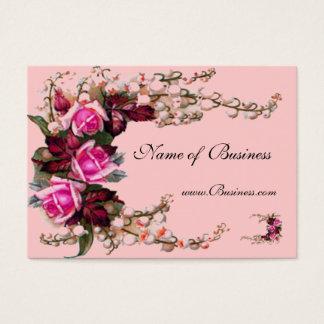 プロフィールカードヴィンテージのピンクのバラ 名刺