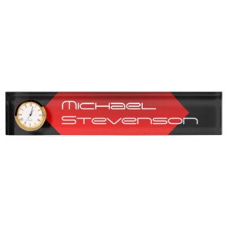 プロフェッショナルは時計が付いている文字のネームプレートをカスタマイズ デスクネームプレート