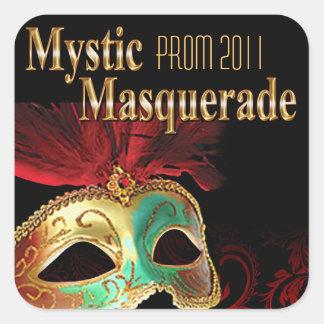 プロム2011の神秘的な仮面舞踏会のパーティー 正方形シールステッカー