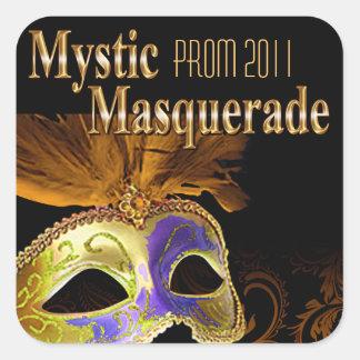 プロム2011の神秘的な仮面舞踏会のパーティー 正方形シール・ステッカー