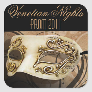 プロム2011ベニス風夜仮面舞踏会のパーティー 正方形シール・ステッカー