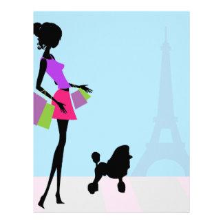 プードルが付いているパリの流行の先端を行く女性のショッピング レターヘッド