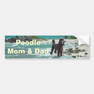 プードルのお母さん及びパパのバンパーステッカー バンパーステッカー