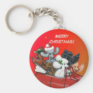 プードルのクリスマスKeychainのOodles ベーシック丸型缶キーホルダー