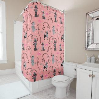 プードルのスカートのモダンなレトロのピンクの黒50sの世紀半ば シャワーカーテン