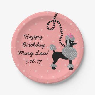 プードルのスカートのレトロのピンクの黒50sの誕生会 ペーパープレート