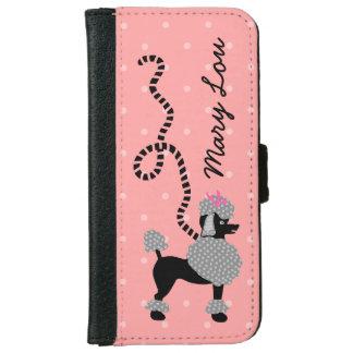 プードルのスカートの名前入りなレトロのピンクおよび黒い50s iPhone 6/6s ウォレットケース