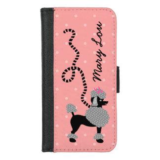 プードルのスカートの名前入りなレトロのピンクおよび黒い50s iPhone 8/7 ウォレットケース