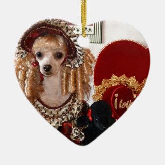 プードルのバレンタイン愛犬のビクトリアンな写真 セラミックオーナメント