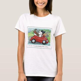 プードルのヴィンテージ車の聖なる書物、経典レディースTシャツ Tシャツ