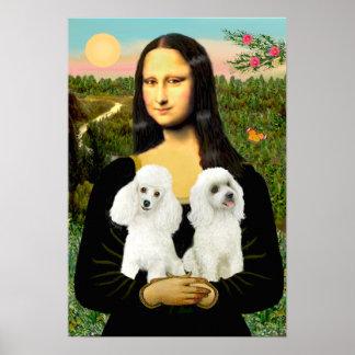 プードルの組(白い) -モナ・リザ ポスター