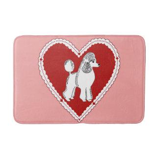 プードル愛赤面のピンクのバス・マット バスマット