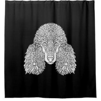 プードル-詳しい犬 シャワーカーテン