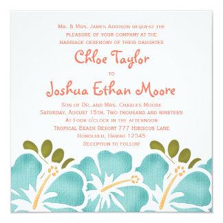 プールおよび珊瑚のハイビスカスの結婚式招待状 カード