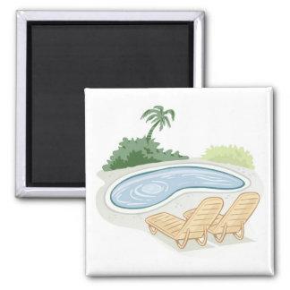 プールによるビーチチェア マグネット