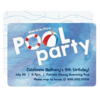 プールのパーティの招待状 カード