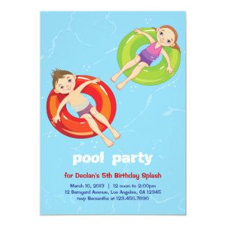 プールのリングの夏の水泳の誕生日のパーティの招待状 カード
