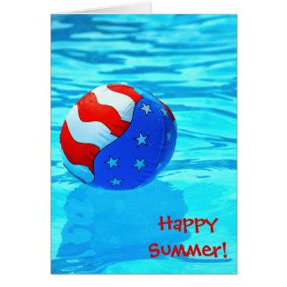 プールの幸せな夏ビーチの球 カード