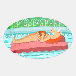 プールの時間ユニコーン 楕円形シール