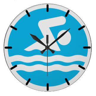 プールまたは水泳のコーチのオフィスのための水泳の時計 ラージ壁時計
