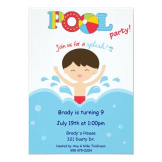 プールを囲んでのパーティの少年 カード