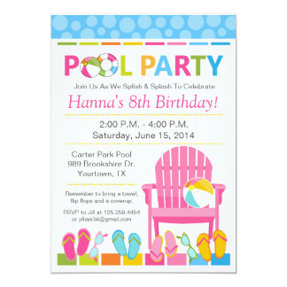 プールを囲んでのパーティの誕生日の招待状および水泳のパーティ カード