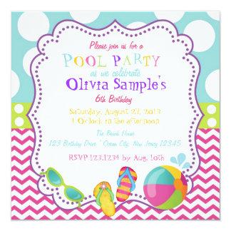 プールを囲んでのパーティの誕生日の招待状 カード