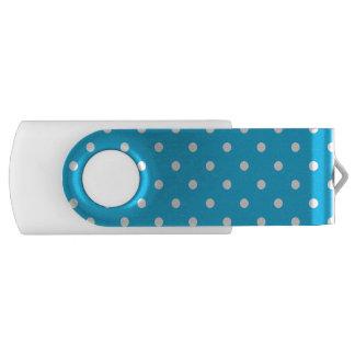 プールを囲んでのパーティの青い水玉模様USB USBドライブ