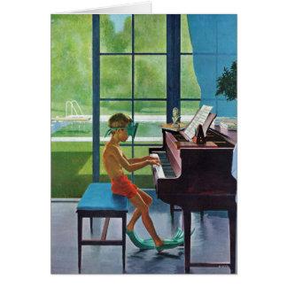 プールサイドのピアノ練習 カード