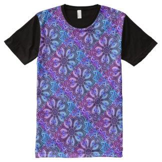 プールサイドの万華鏡のように千変万化するパターン-美しくクールなモザイク オールオーバープリントT シャツ