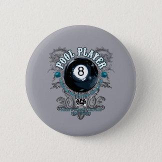 プールプレーヤーの線条細工の8ボール 缶バッジ