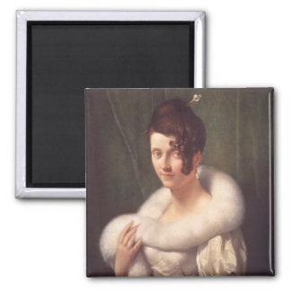 ヘアピンを持つ女性のポートレート マグネット